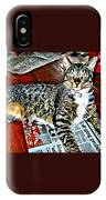 Tabby Cat On Newspaper - Catching Up On The News IPhone Case