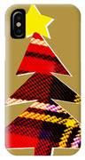 Tartan Christmas Tree On Gold IPhone Case