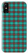 Teal Red And Black Plaid Fabric Background IPhone Case
