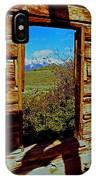 Tetons Through Log House Window IPhone Case