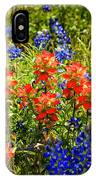 Texas Bluebonnets And Red Indian Paintbrush IPhone Case