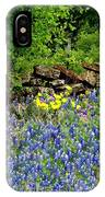 Texas Bluebonnets And Stone Wall IPhone Case