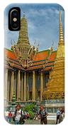 Thai-khmer Pagoda And Golden Chedis At Grand Palace Of Thailand  IPhone Case