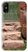 Rusty Wheelbarrow And Green Door IPhone Case