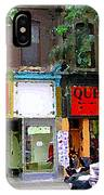 The Beadery Craft Shop  Queen Textiles Fabric Store Downtown Toronto City Scene Paintings Cspandau  IPhone Case