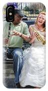 The Bride Plays The Trumpet- Destination Wedding New Orleans IPhone Case