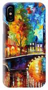The Bridges Of Amsterdam - Palette Knife Oil Painting On Canvas By Leonid Afremov IPhone Case