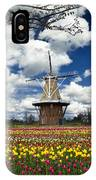 The Dezwaan Dutch Windmill Among The Tulips On Windmill Island In Holland Michigan IPhone Case