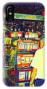 The Gambler Meets The One Armed Bandit In Casino Royale Standoff At High Noon Urban Casino Art Scene IPhone Case