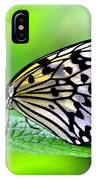 The Paper Kite Or Rice Paper Or Large Tree Nymph Butterfly Also Known As Idea Leuconoe 2 IPhone Case