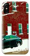 The Point Pointe St Charles Snowy Walk Past Red Brick House Winter City Scene Carole Spandau IPhone Case