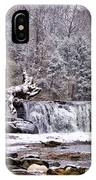 The Waterfall Near Valley Green In The Snow IPhone Case