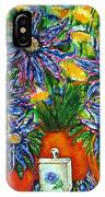 Blue Flowers Yellow And A Perfume Bottle IPhone Case