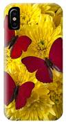 Three Red Butterflys IPhone Case