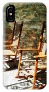 Three Wooden Rocking Chairs On Sunny Porch IPhone Case
