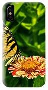 Tiger Swallowtail And Peppermint Stick Zinnias IPhone Case