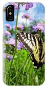 Tiger Swallowtail On Pincushion Flowers IPhone Case