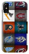 Time To Lace Up The Skates Recycled Vintage Hockey League Team Logos License Plate Art IPhone Case