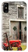 Red Tractor And Old Barn Ossipee New Hampshire IPhone Case