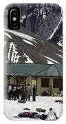 Tourists Surrounded By Snow And Ice Outside One Of The Few Buildings IPhone Case