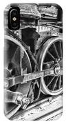 Train - Steam Engine Wheels - Black And White IPhone Case