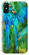 Tropic Spirits - Gold And Blue Macaws IPhone Case