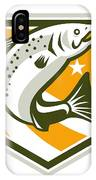 Trout Jumping Retro Shield IPhone Case