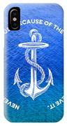 Turquoise Blue Tropical Sea With Vintage White Anchor IPhone Case