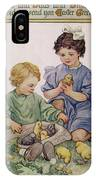 Two Children Play With Chicks IPhone Case