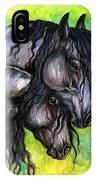 Two Fresian Horses IPhone Case