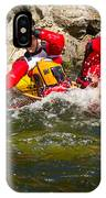 Two Men Paddling A Red Whitewater Canoe IPhone Case