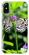 Two Paper Kite Or Rice Paper Or Large Tree Nymph Butterfly Also Known As Idea Leuconoe IPhone Case