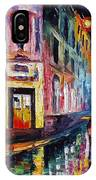 Two Streets - Palette Knife Oil Painting On Canvas By Leonid Afremov IPhone Case
