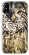 Two Zebras Equus Quagga Nuzzlling IPhone Case
