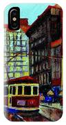 Umbrellas In The Rain Couples Stroll St.catherine Street Downtown Montreal Vintage  City Scene  IPhone Case