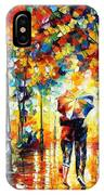 Under One Umbrella - Palette Knife Figures Oil Painting On Canvas By Leonid Afremov IPhone Case