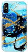 Under The Sea Original Abstract Blue Gold Painting By Madart IPhone Case