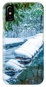 Upper Part Of Bond Falls In Winter IPhone Case