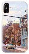 Urban Winter Landscape Colors Of Quebec Cold Day Pointe St Charles Street Scene Montreal  IPhone Case