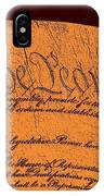 Us Constitution Closeup Sculpture Brown Background IPhone Case