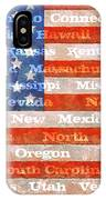 Us Flag With States IPhone Case