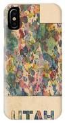 Utah Map Vintage Watercolor IPhone Case