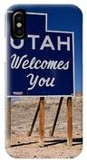 Utah Welcomes You State Sign IPhone Case