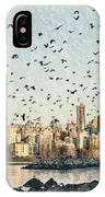 Vancouver Skyline With Crows IPhone Case