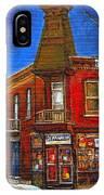 Vanishing Montreal Landmark Depanneur Ste. Emilie And Bourget Montreal Painting By Carole Spandau  IPhone Case