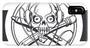 Vector Illustration Of A Black Skull IPhone X Case