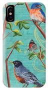 Verdigris Songbirds 1 IPhone Case