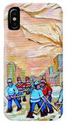 Verdun Back Lane Hockey Practice Montreal Winter City Scen Painting Carole Spandau IPhone Case