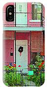 Verdun Flower Boxes Pink House Fenced Front Garden Red Flowers Staircase Scenes Carole Spandau IPhone Case