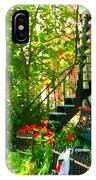 Verdun Stairs Red Flowers On Winding Staircase Tall Shade Tree Montreal Summer Scenes Carole Spandau IPhone Case